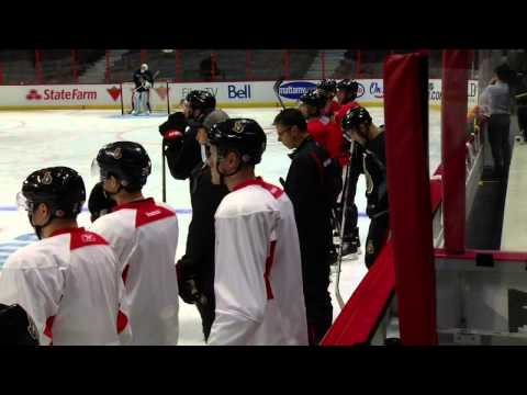 Senators coach yells at top line during practice