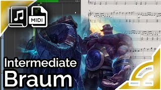 Braum login theme (simplified) - League of Legends (Synthesia Piano Tutorial)
