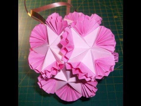 Как украсить своими руками зал на свадьбу  Оригами кусудама Бабочки (Ч. 2)