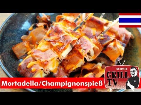 Mortadella grillen? Champignon-Mortadella Spieße- Thaifood