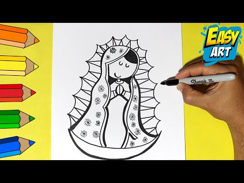 ... la Virgen de Guadalupe - How to Draw a Virgin of Guadalupe - YouTube