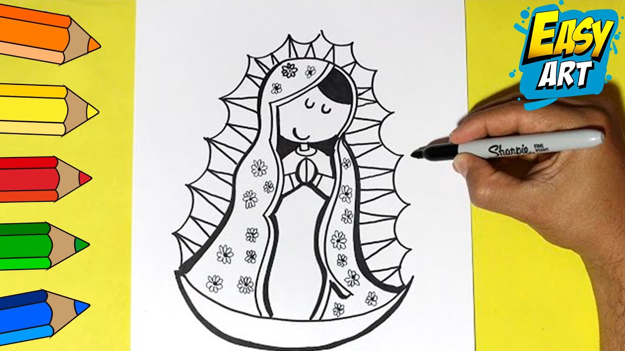 Como Dibujar La Virgen De Guadalupe How To Draw A Virgin Of Guadalupe