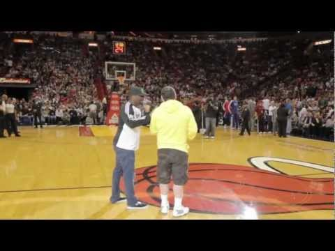Thumbnail: LeBron James Tackles & Bear Hugs Michael Drysch, The Carmex Half-Court Hero (Live Footage)