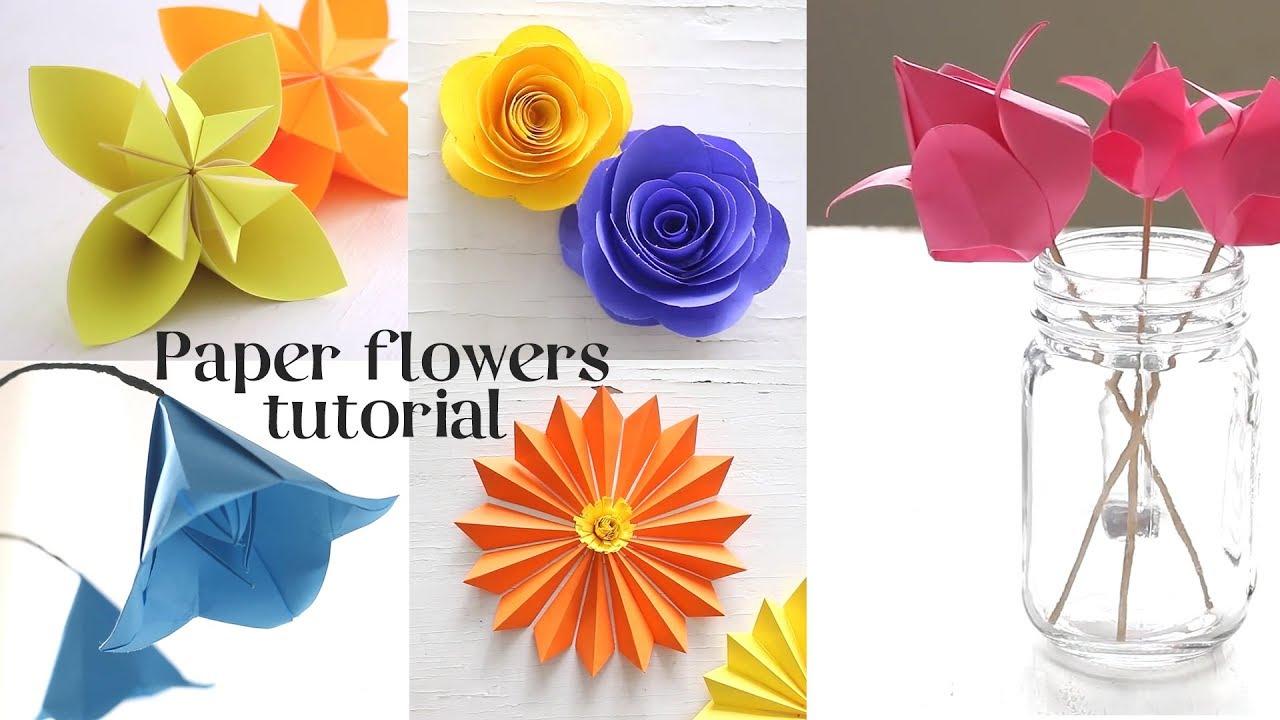 5 Easy Paper Flowers Flower Decor Ideas Flower Making Youtube