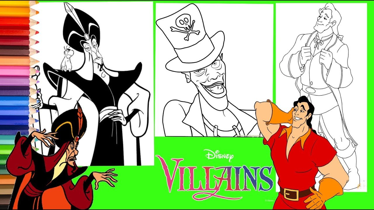 Disney Villain Jafar Dr Facilier Gaston Coloring Pages For Kids Youtube