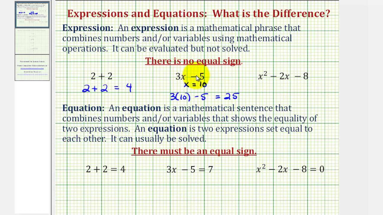 d5519ee14e5 The Difference Between an Expression and an Equation - YouTube