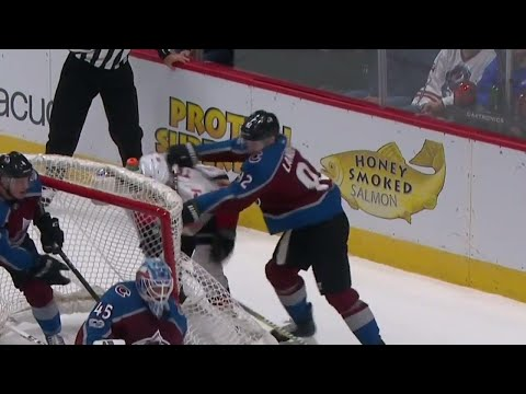 Landeskog lands rough cross check to Tkachuk's face