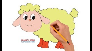 How to Draw a Cartoon Sheep Step by Step Easy For Kids