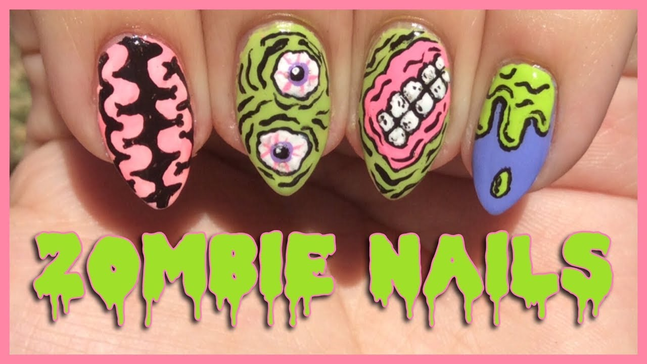 Zombie Nail Art Tutorial (Iron Fist Inspired) | Halloween Nails - Zombie Nail Art Tutorial (Iron Fist Inspired) Halloween Nails