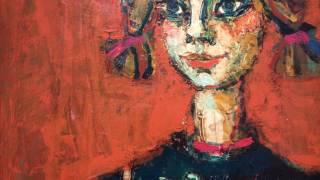 ポール・アイズピリ キャンパスに油彩 サイン 《おさげ髪の少女》