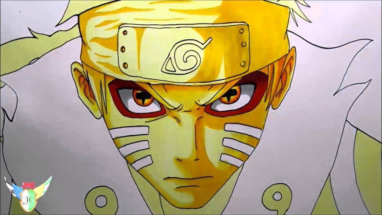 Speed Drawing Naruto Uzumaki Bijuu Sage Mode うずまきナルト Youtube