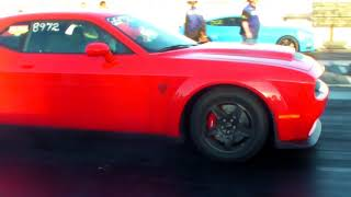 SRT DODGE DEMON 9.941 @ 136.47 FAMOSO 1-27-2018 Private Owned Drag Strip Pass Race Challenger