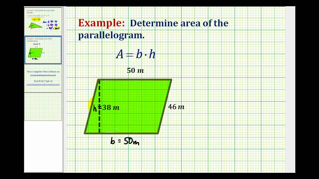 Ex Area Of A Parallelogram (whole Numbers)  Youtube