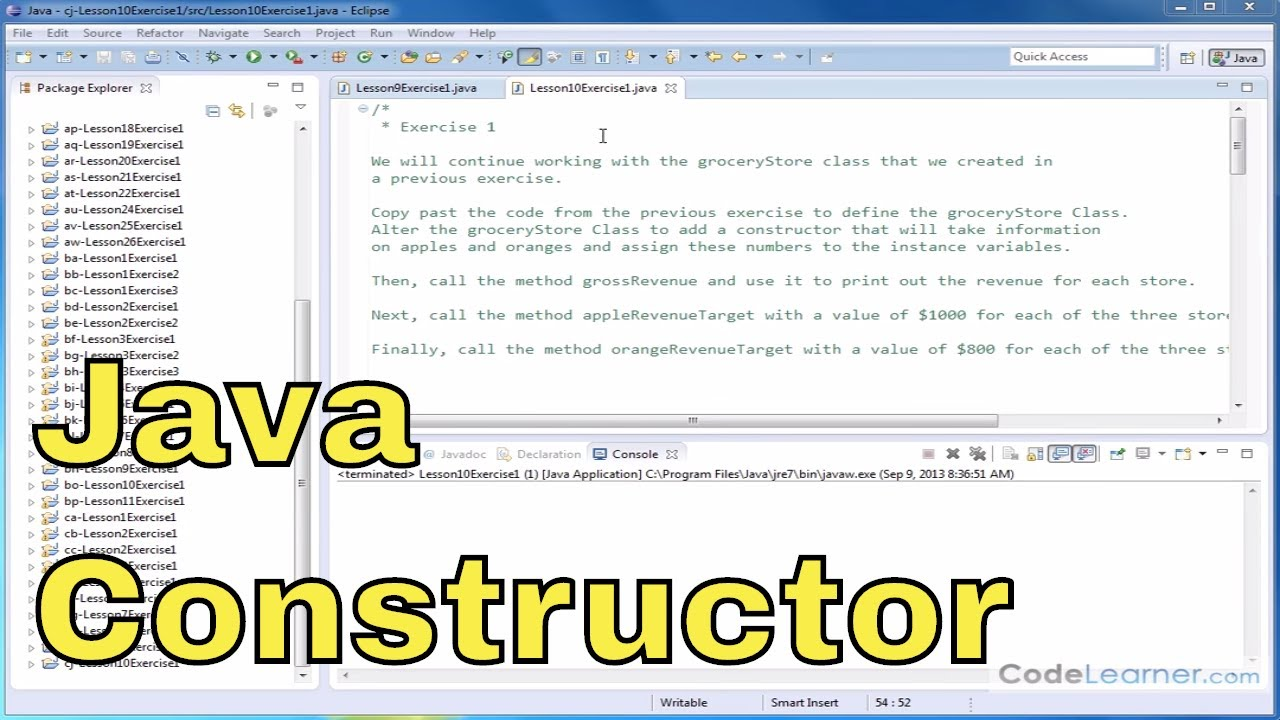 Learn Java - Exercise 10x - Use Constructors in Java Classes