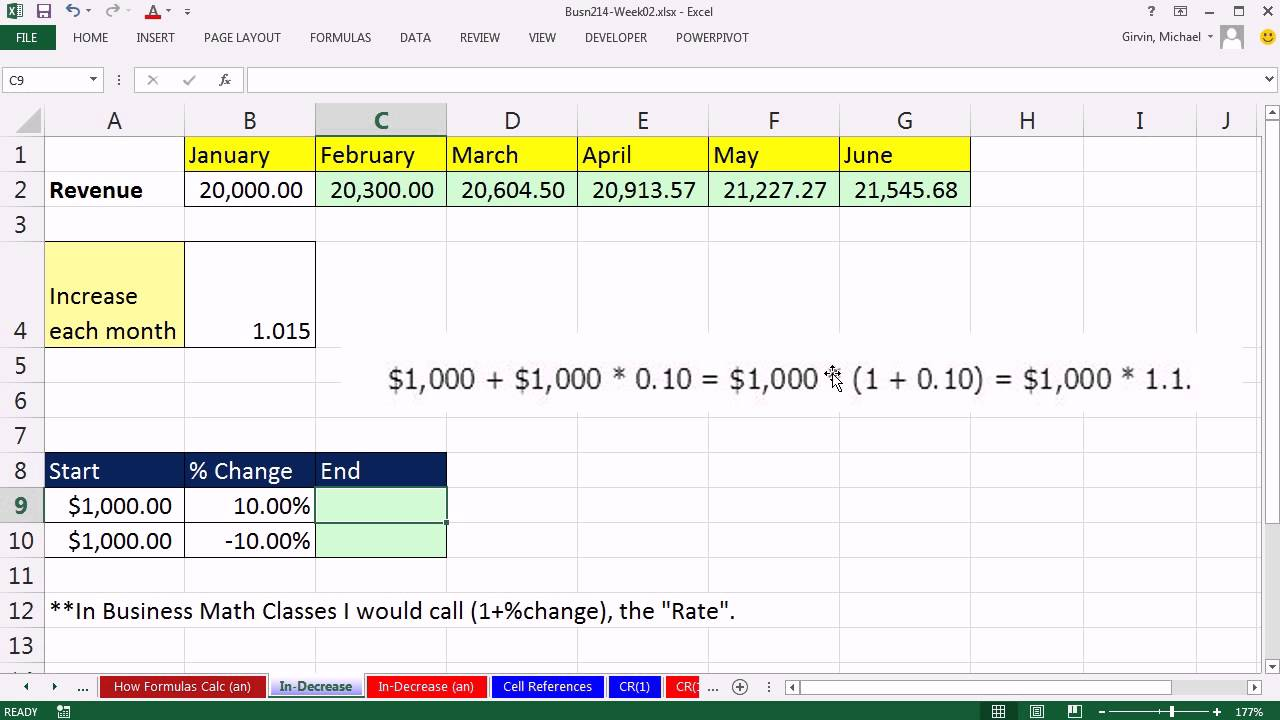 Highline Excel 2013 Class Video 04: Percentage Increase or Decrease Formula