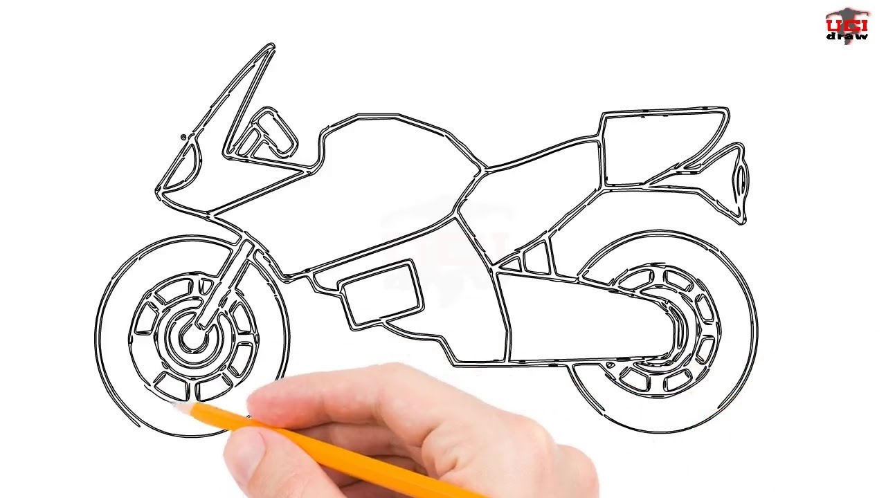 How To Draw A Motorcycle Step By Step Easy For Beginners Kids Simple Motorbikes Drawing Tutorial Youtube