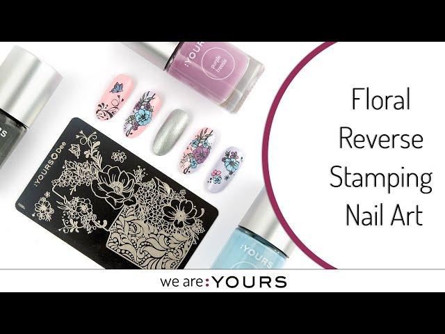 Floral Reverse Stamping Nail Art Design