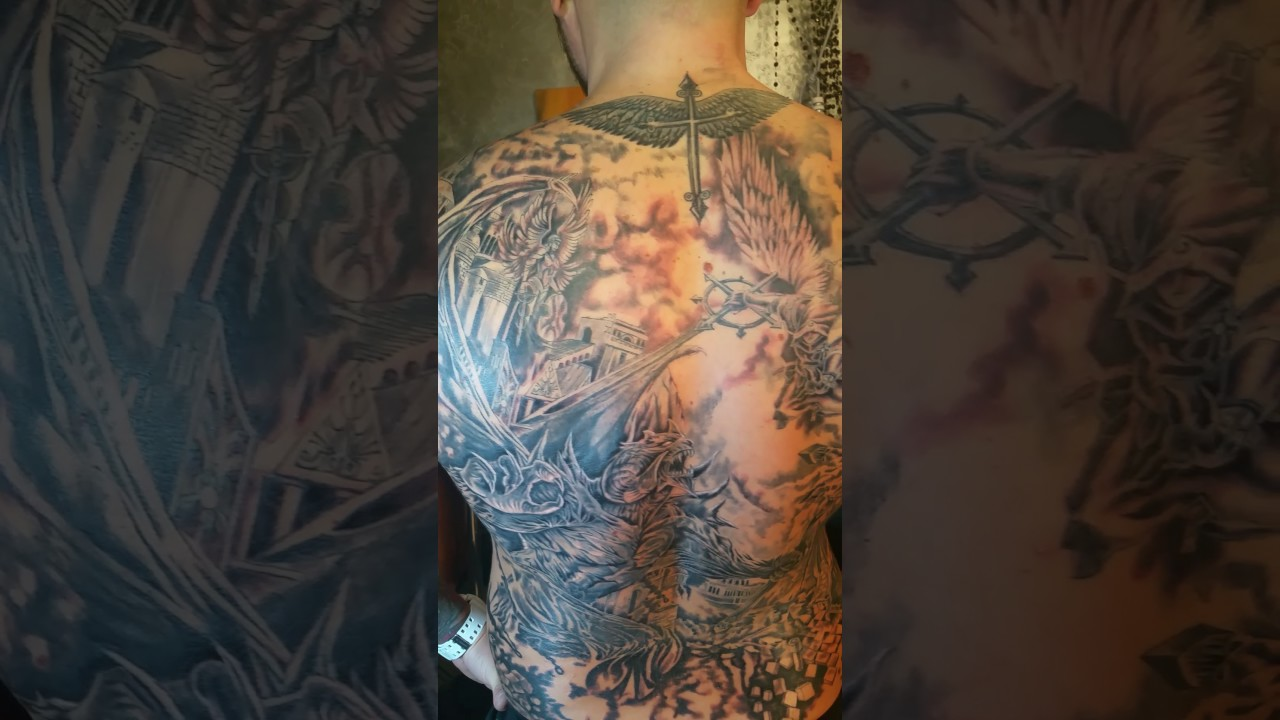 779eef443 Angel vs devil tattoo/full back /unfinished/by Ionut Mitra - YouTube