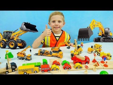 Машины SIKU для детей. Экскаватор | Автокран | Дорожный Погрузчик - Детское видео про Машинки