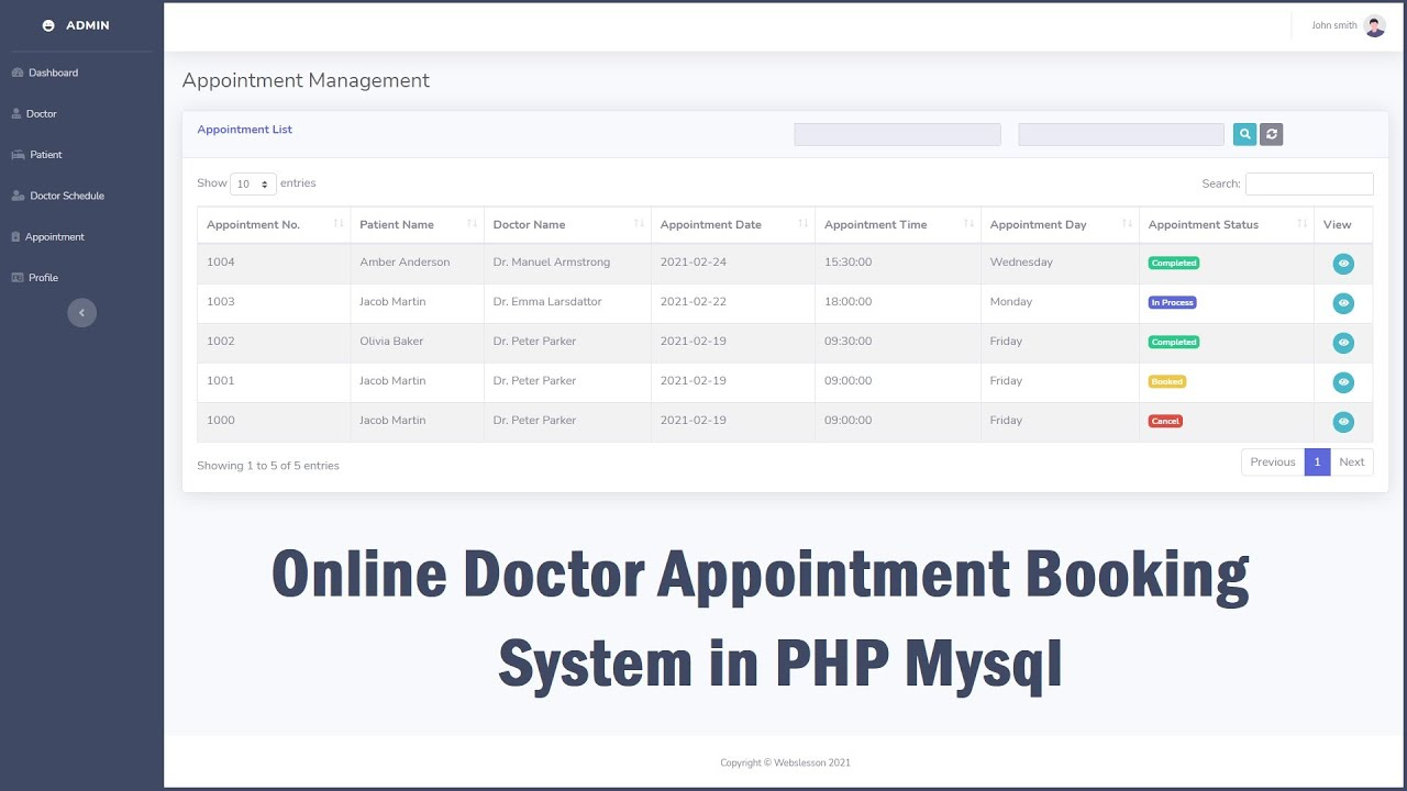 Online Doctor Appointment Booking System in PHP Mysql