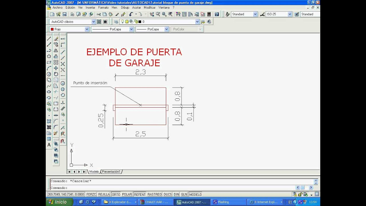 11 Dibujar y crear el bloque PUERTA DE GARAJE xvid - YouTube