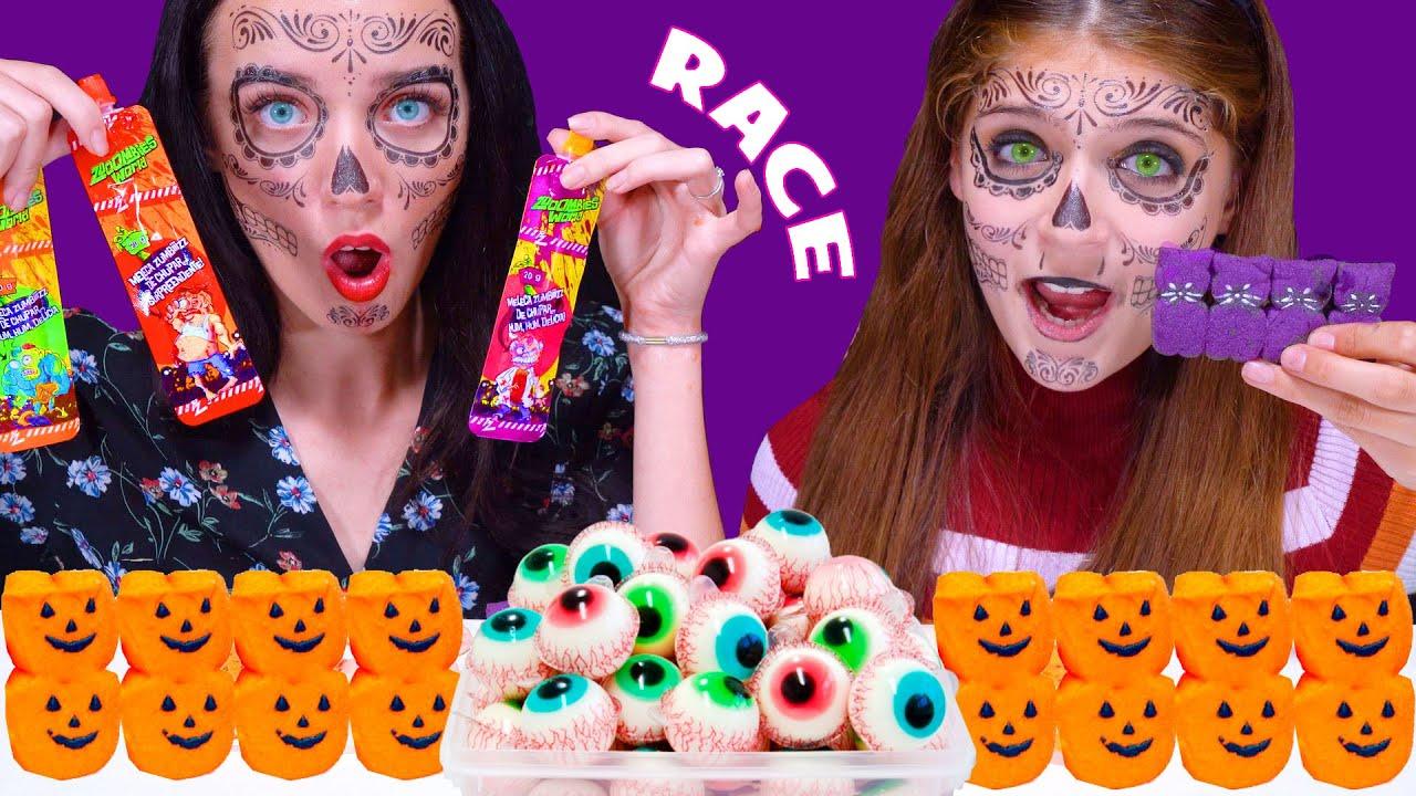 ASMR Speed Eating Halloween Challenge (Gummy Eyeballs, Lollipops, Marshmallow)