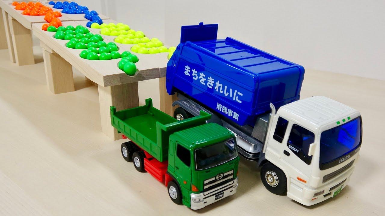 マーブルランレースASMR☆☆ HABA木製ウェーブコース&くみくみスロープ ダンプトラック, ゴミ収集車