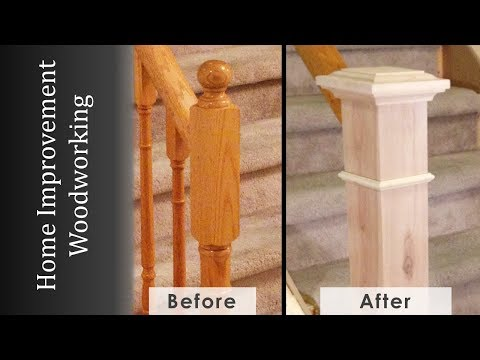 Newel Post Makeover Staircase Renovation Episode 2 Youtube   Shaker Style Newel Post   Shingle Style   Baluster   Pressure Treated   Square   Railing