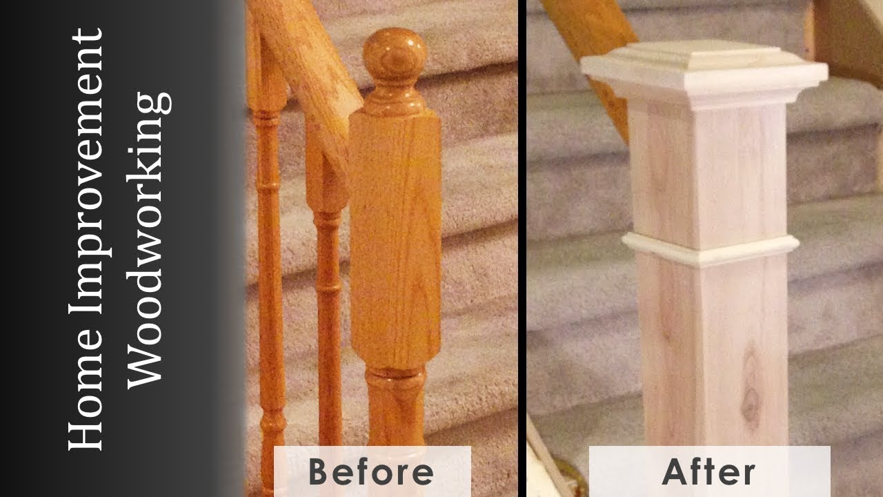 Newel Post Makeover Staircase Renovation Episode 2 Youtube | Top Of Stairs Banister | High End | Indoor | Barn Beam | Redo | Glass