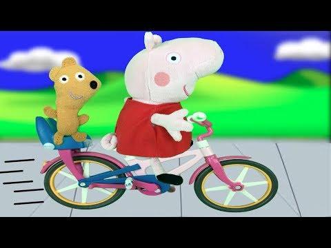 Peppa pig y sus amigos: pepa aprende a ir en bicicleta.Nuevo video de juguetes en español