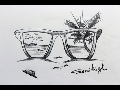 how-to-draw-real-sea-with-sunglass-easy-tutorial-|-pencil-sketch