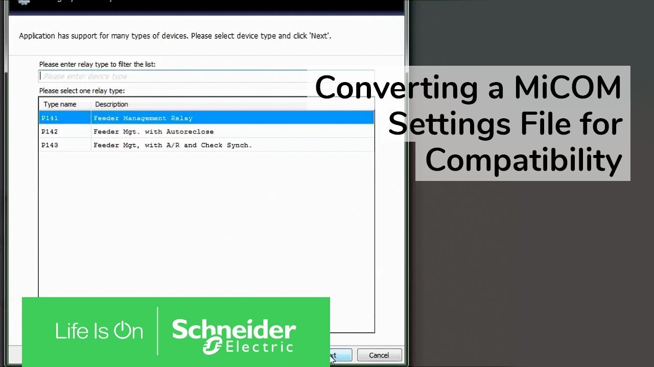 Converting a MiCOM Settings File for Compatibility with Another Relay |  Schneider Electric Support