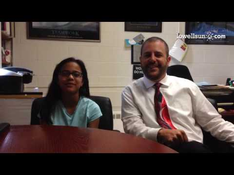 Chelmsford Math & Science Coordinator Matthew Beyranevand and Parker Middle School student Sachi Bad