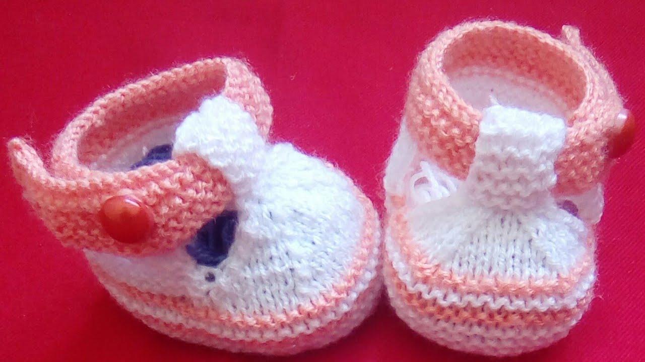 Tuto tricot : chaussons bébé au tricot part 1/2 de 3-12 mois. - YouTube