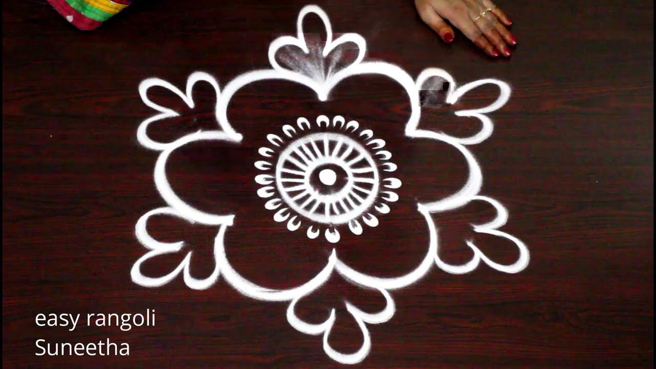 2 Easy Beginners Rangoli Muggulu Simple Daily Rangoli Kolam Designs By Suneetha Youtube