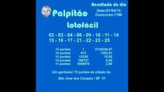 LOTOFACIL CONCURSO 1190  01042015