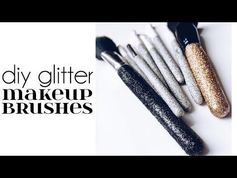 DIY Fancy Glitter Makeup Brushes Tutorial | Jenni Mares