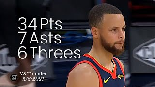 Stephen Curry 34 Pts, 7 Asts, 6 Threes vs Thunder | FULL Highlights
