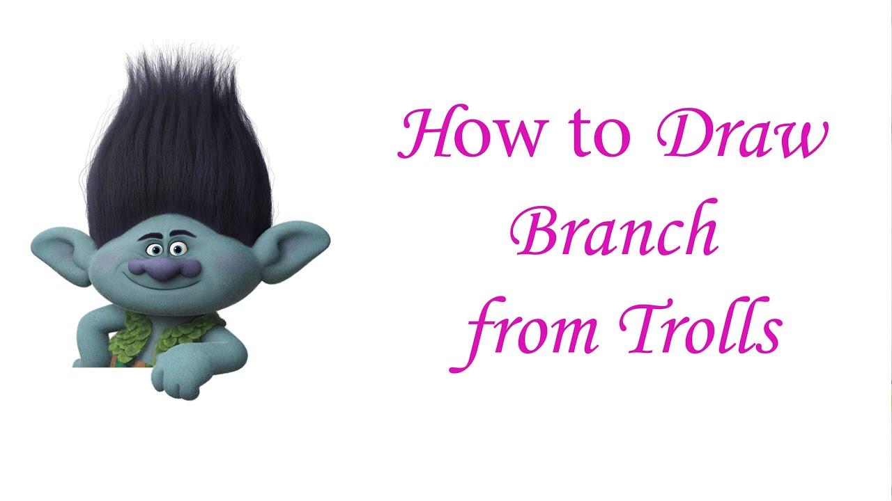 Draw Branch from Trolls movie 2016 essy - Как нарисовать Цветана ...