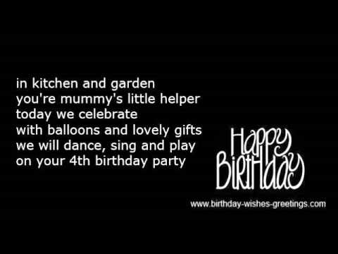 4th Birthday Wishes 4 Year Old Daughter Or Son