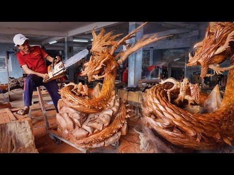 Wood carving – Lord Warrior fighting Dragon – Multiplatform MMORPG Gran Saga Huge Sculpture Amazing