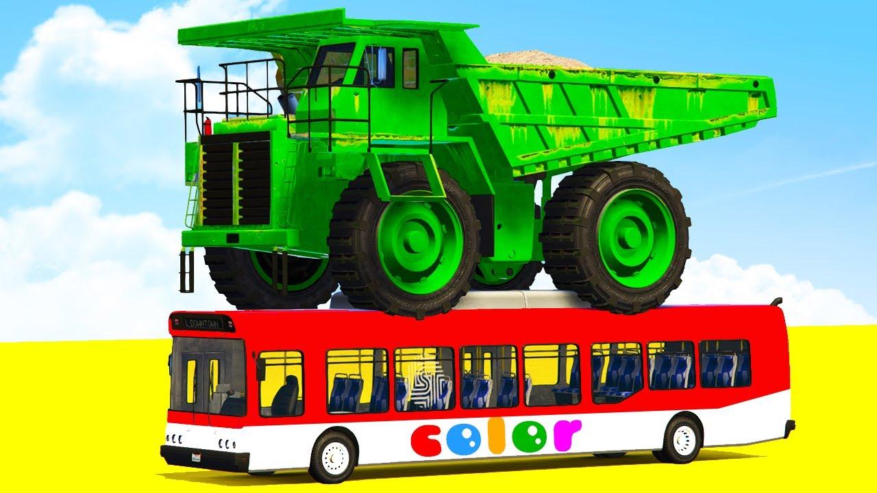 Learn Colors Dump Truck On Bus W Spiderman Cars Cartoon