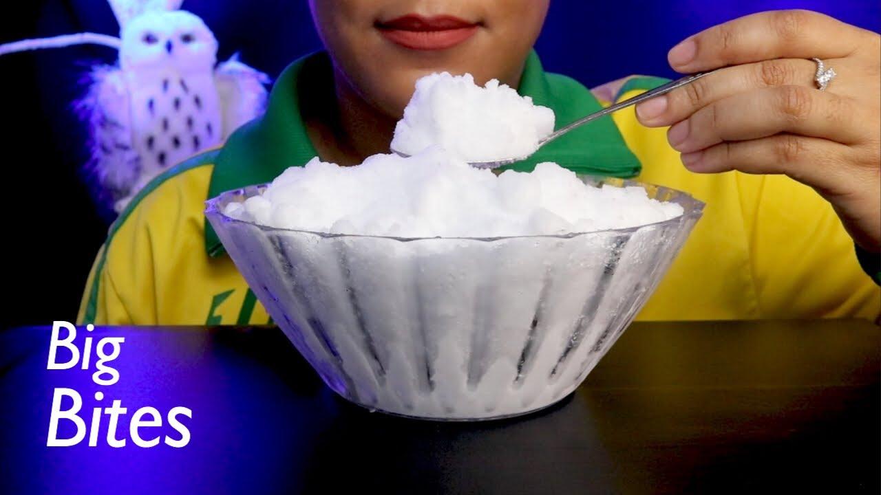 ASMR Big Bites Powdery Snow (Remake)