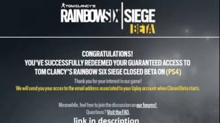 Rainbow six siege free beta codes ps4 xone Pc