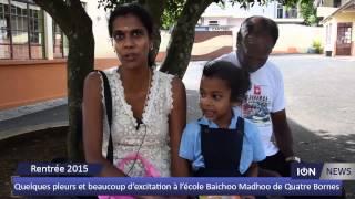 Quelques pleurs et beaucoup d'excitation à l'école Baichoo Madhoo de Quatre Bornes