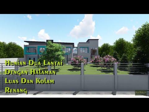 Desain Rumah Dua Lantai Dengan Halaman Luas Dan Kolam Renang