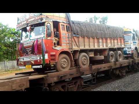 RORO rake train slashes through kankavli station   kokan railway beautiful konkan.!!