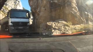 Close call Ferrari 430 Scuderia vs truck on TINY Italian road during Gran Turismo Europa 2011