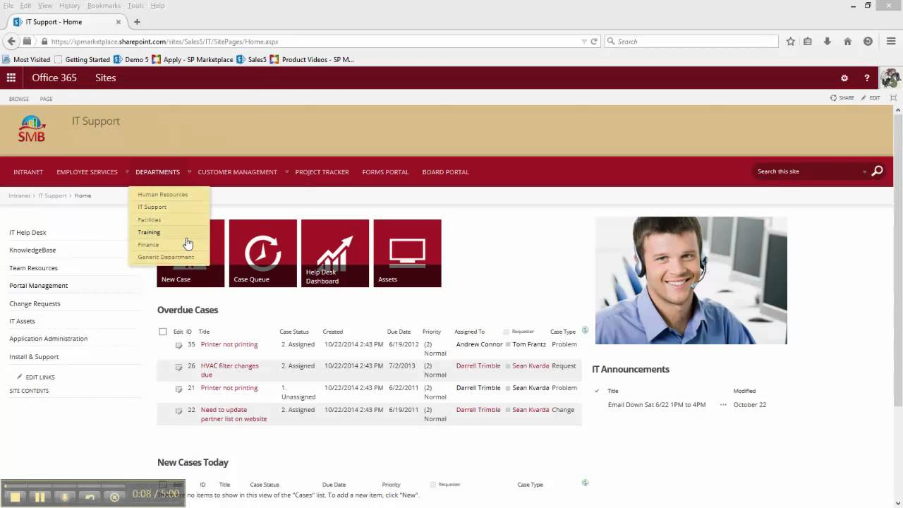 office 365 sharepoint helpdesk template - it help desk and support application for sharepoint 2010