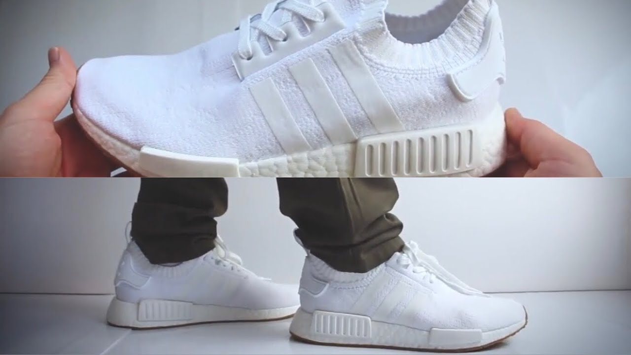 Adidas Nmd R1 White Gum Unboxing On Feet Youtube